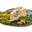 Mould cheese with salad, nuts and crisp — Stock Photo