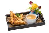 Breakfast - coffee and bun — Stock Photo