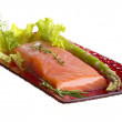 Salmon fillet garnished — Stock Photo #30084087