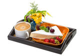 Breakfast wirh coffee and cheese — Stock Photo