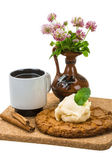 Breakfast wirh coffee and cookie — Stock Photo