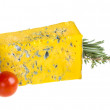Slice of Roquefort cheese with tomato and herbs — Stock Photo