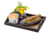 Breakfast wirh coffee and sunflower seeds dessert — Stock Photo