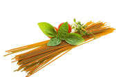 Color spaghetti with basil, thyme and tomato — Stockfoto