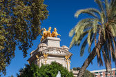 Barcelona ciudadela park lake fountain with golden quadriga of Aurora — Stok fotoğraf