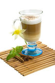 Coffee Late with Flower, mint, star-anise and cinnamon — Stockfoto