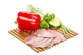 Ripe fresh ham with vegetables — Stock Photo