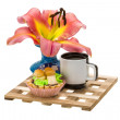 Stock Photo: Coffee with cupcake and lilly flower