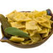 Stock Photo: Ravioli with herbs