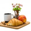 Breakfast with coffee and croissant — Stock Photo #33578363