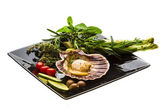 Scallop with asparagus, lime, mint and rosemary — Stock Photo