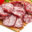 Fresh ripe salami — Stock Photo