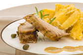 Grilled pork with potato — Stock Photo