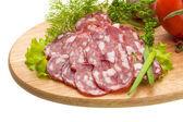 Fresh ripe salami — Stock Photo