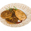 Stock Photo: Potato cutlet with pork steak