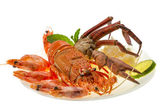 Spiny lobster, shrimps, crab legs and rice — Stock Photo
