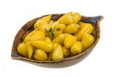 Yellow marinated hot pepper — Stock Photo