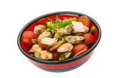 Salad with mussels and tomato — Stock Photo