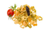 Macaroni - hearts of various color — Stock Photo