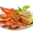 Spiny lobster, shrimps and rice — Stock Photo #38786989