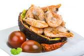 Shrimps in avocado — Stock Photo