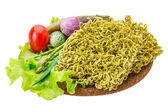 Green raw noodles — Foto Stock