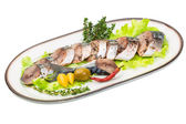 Mackerels with salad and thyme — Stock Photo