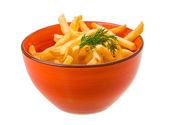 在白色背景上的法式炸薯条 — 图库照片