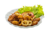 Fried squid rings — Stock Photo