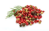Red, black and white pepper heap — Stock Photo