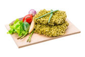 Green raw noodles — Stock Photo