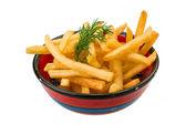 Franse frietjes op witte achtergrond — Stockfoto