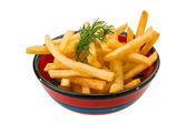 Pommes frites auf weißem hintergrund — Stockfoto
