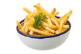 Batatas fritas no fundo branco — Foto Stock