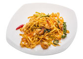 Fried noodles with shrimps — Stock Photo