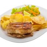 Grilled pork with potato — Stock Photo #48255307