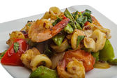 Seafood with vegetables — Stok fotoğraf