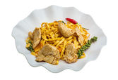 Fried noodles with pork — Stock Photo