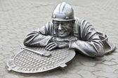 Urban sculpture plumber Stepanich — Stock Photo