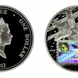 Silver coin - Stock Photo