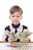 Modern children's game - the banker, financier — Stock Photo