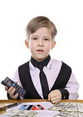 Child's game - banker, financier — Stock Photo