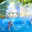 Zorbing in park — Stock Photo