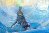 Attraction on the water - aquazorbing — Stock Photo