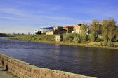 Omsk,Russia.Embankment at the mouth of the river Om — Stock Photo
