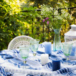 Celebration table layout on terrace — Stock Photo