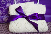 Wool plaid with bow — Stok fotoğraf