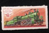 Shows a cargo steam locomotive — Stock Photo