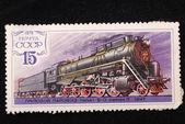 Cargo steam locomotive — Stock Photo