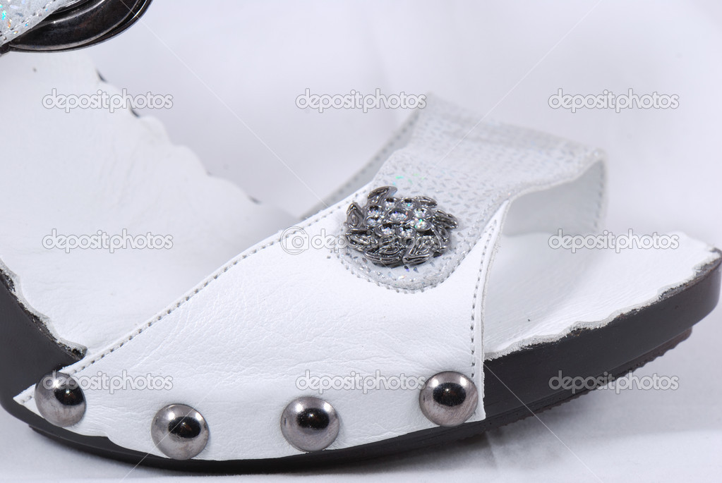 Fashion platform shoes with flower close-pack on a white background  Stock Photo #15613121